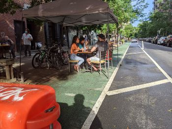 bike lane with tables?