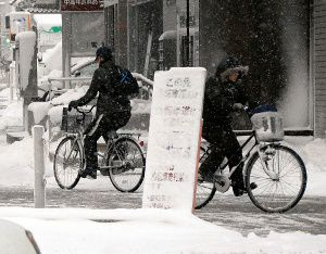 雪道の自転車