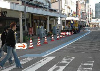 車道に自転車レーン