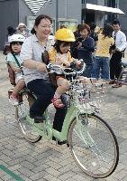 3人乗り自転車に試乗