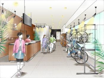 ランナーだけではなく自転車通勤者もターゲット。駐輪場完備のランナーズステーションのイメージ画像。
