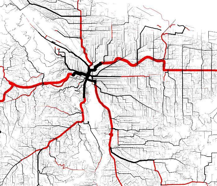 Multimodal Shortest Path Tree of Portland, Oregon