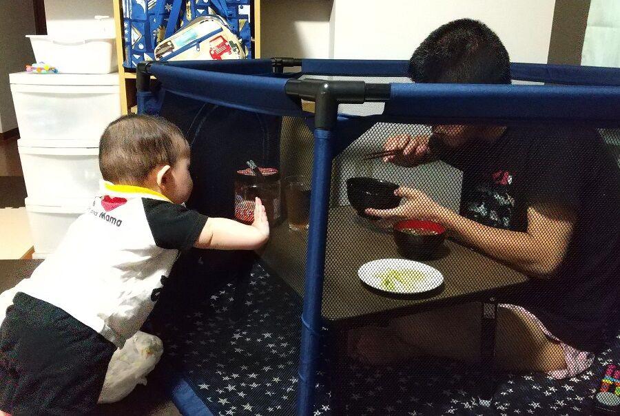 ベビーサークルの外からのお父さんの食事を眺める赤ちゃん
