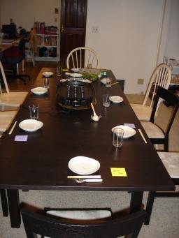 すっきりしたテーブルセット