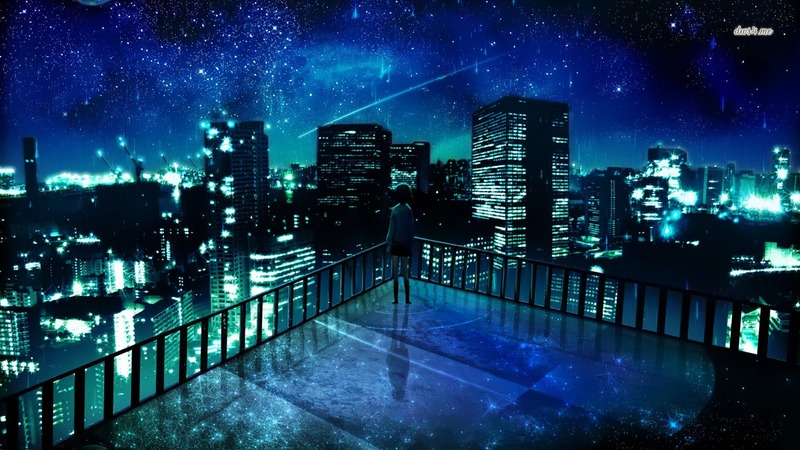 222-girl-staring-at-the-city-at-night-1366x768-anime-wallpaper
