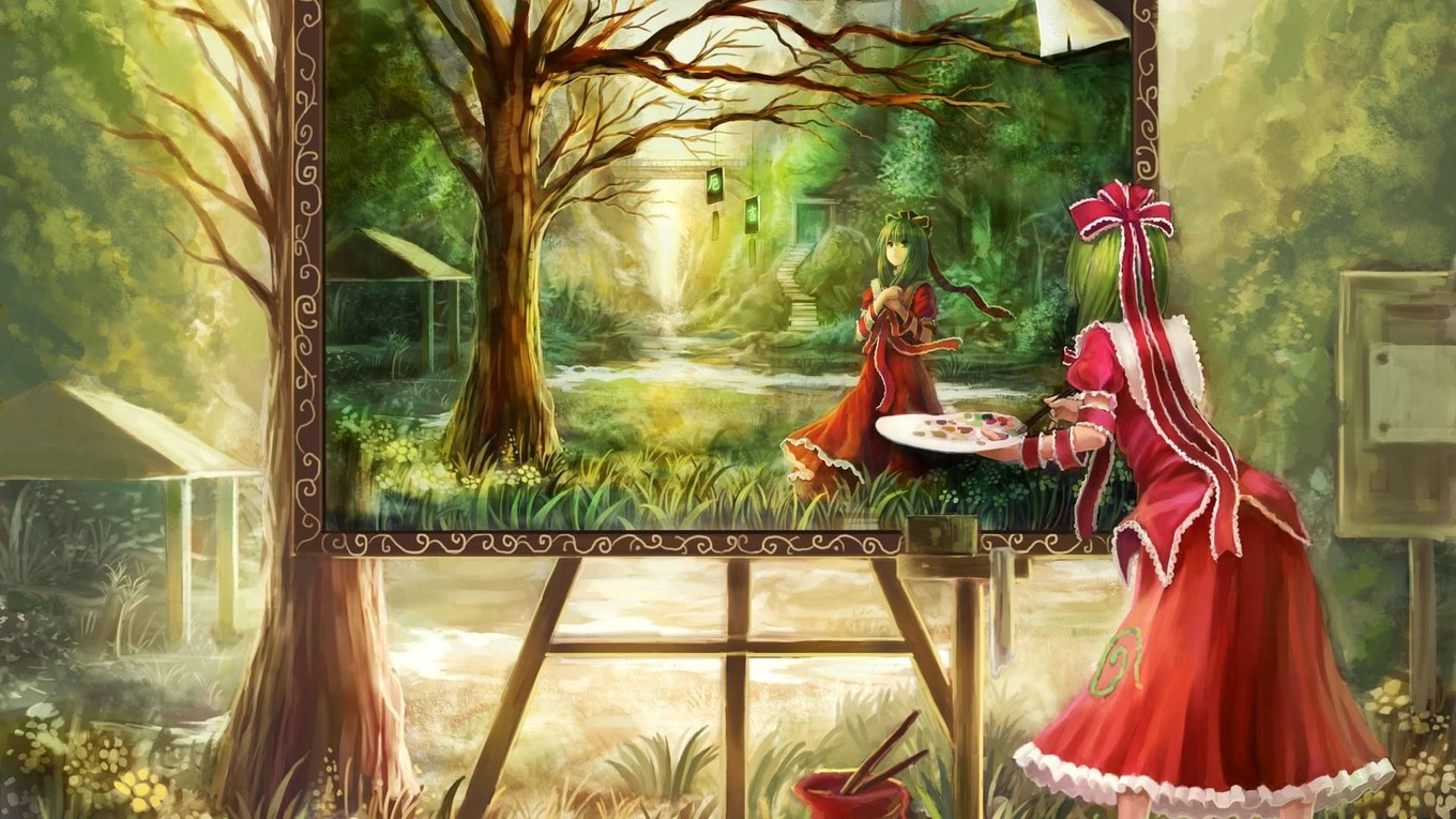girl-dress-red-painting-forest-1099070-wallhere.com