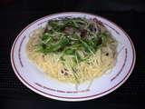 豚肉と水菜のぺペロンチーノ