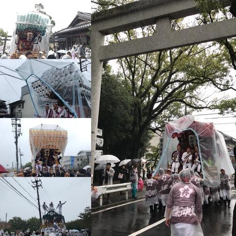 台風接近の秋祭りは雨でずぶ濡れ!豊作祭り