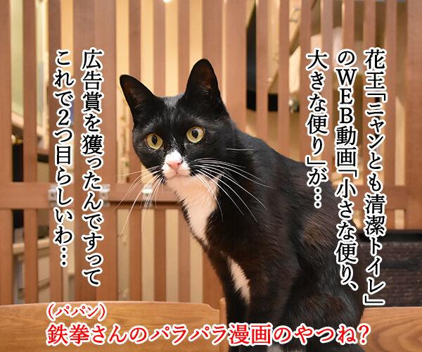 花王「ニャンとも清潔トイレ」のWEB動画が広告賞を受賞したんですってッ 猫の写真で4コマ漫画 1コマ目ッ