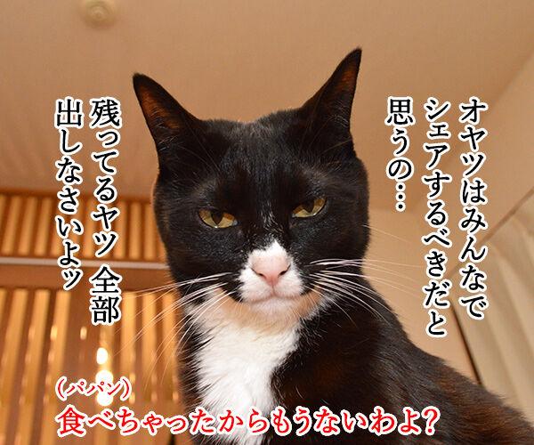 パパンのこっそりオヤツ 猫の写真で4コマ漫画 2コマ目ッ