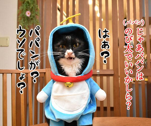 だいずさんがドラえもんなら 猫の写真で4コマ漫画 3コマ目ッ