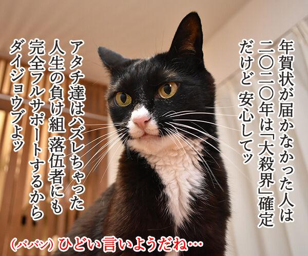 年賀状プレゼント ご応募アリガトゴザマシターッ 猫の写真で4コマ漫画 3コマ目ッ