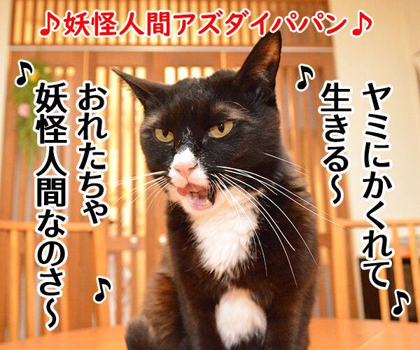 妖怪人間アズダイパパン 猫の写真で4コマ漫画 1コマ目ッ