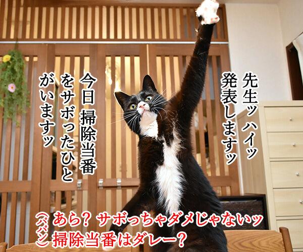 小学校の帰りの会ごっこをするわよーッ 猫の写真で4コマ漫画 3コマ目ッ