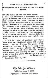 ゲーム進行の遅さを嘆く1905年のニューヨーク・タイムズ紙記事
