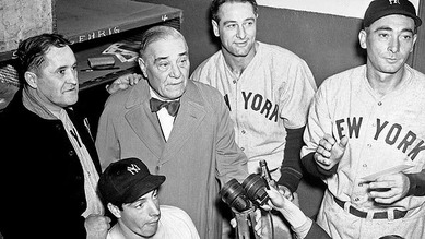 Jacob Ruppert and Joe DiMaggio 1937
