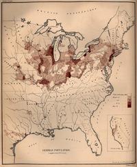 ドイツ系移民の人口密度(1872年)