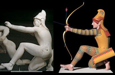 Trojan archer crouching in battle(often so-called