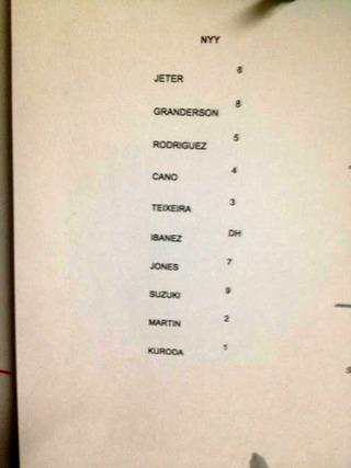 イチローの記念すべきヤンキースで最初のメンバー表