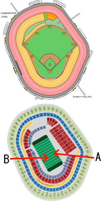 キャンドルスティックパーク 野球とフットボールでの観客配置の違い