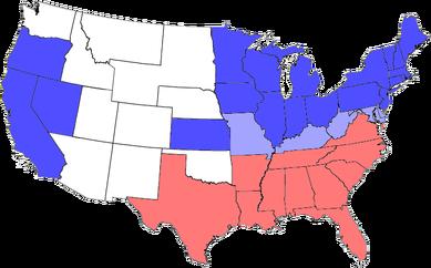 南北戦争時の州別の奴隷制状況