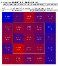 2007年〜2012年 対・左投手ホットゾーン(relative color mode)