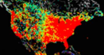 アメリカ国内のインターネットの普及度分布