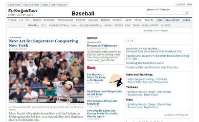2012年7月27日NY Times電子版 Baseballページ トップ画面