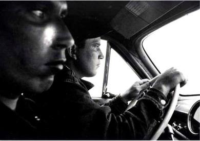 Hitchhikers leaving Blackfoot, Idaho towards Butte, Montana 1956