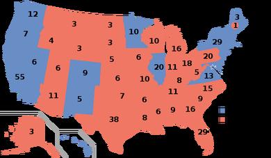 州別選挙人獲得数(2016アメリカ大統領選挙)