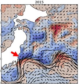 2015年の日本近海の海面水温