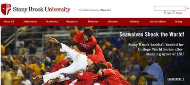 CWS出場を喜ぶストニーブルック大学の公式サイト
