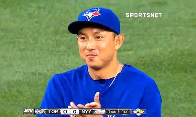 4000安打を達成したイチローを見てニヤけるムネノリ・カワサキ