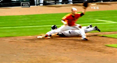 2012年9月8日 ボルチモア戦9回表 一塁塁審Jerry Mealsの誤審1
