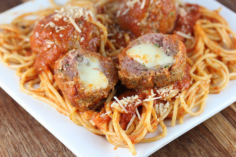 Noodles with stuffed meatballs