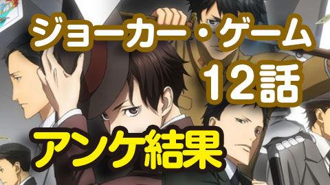 【ジョーカー・ゲーム】12話 ニコ生アンケ とても良かった95.4%「XX ダブル・クロス」