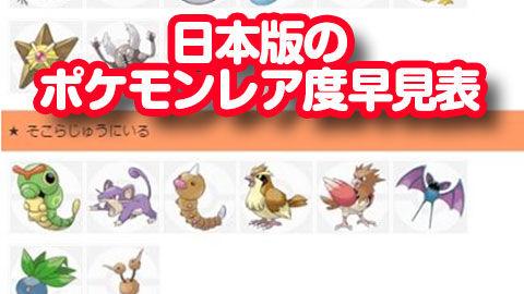 『ポケモンGO』 日本版のポケモンレア度早見表(注意:海外とは違う)