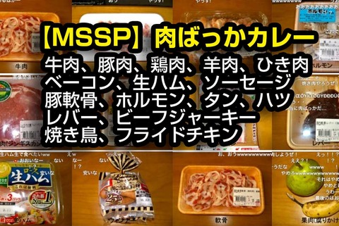 【MSSP】肉ばっかカレー[牛肉、豚肉、鶏肉、羊肉、ひき肉、ベーコン、生ハム、ソーセージ、豚軟骨、ホルモン、タン、ハツ、レバー、ビーフジャーキー、焼き鳥、フライドチキン]