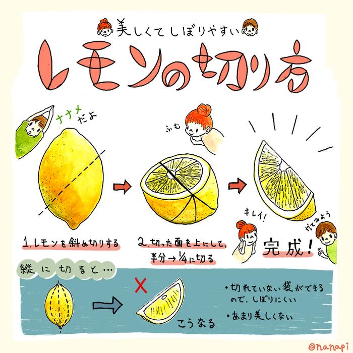 美しくて絞りやすいレモンの切り方