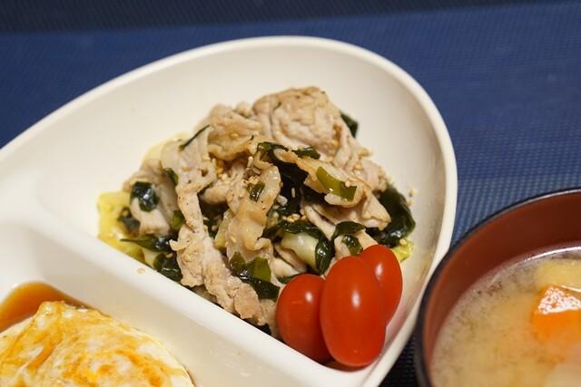 ■200529キャベツわかめナムルと豚肉の炒め物