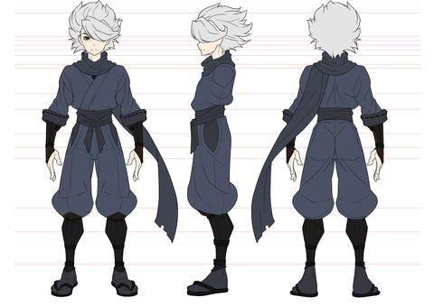 忍者三面図髪型2