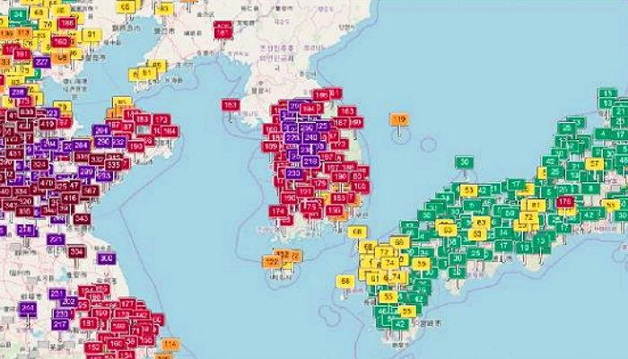 【大気汚染】 日本だけ空気がきれい~中国と日本の間に挟まって意図せず空気清浄器(?)として働く韓国、悔しいです