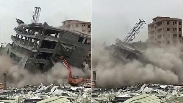 【動画】中国、ビル解体工事現場で重機が取り壊し中にビルが崩壊!重機埋まる! [海外]