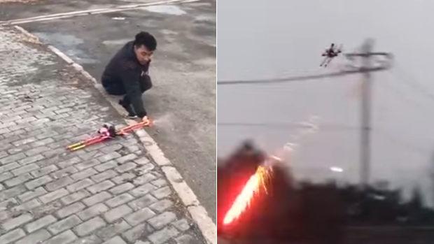 【動画】中国、ドローンに花火を装備し戦闘機ごっこの男、ネットで批判殺到 [海外]