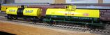Yellow chemical tank cars