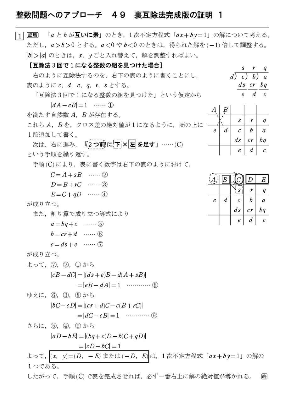 整数問題へのアプローチ 49 裏互...