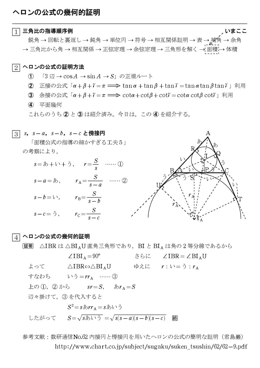 ヘロンの公式の幾何的証明 : 怜悧玲瓏 ~高校数学を天空から俯瞰する~