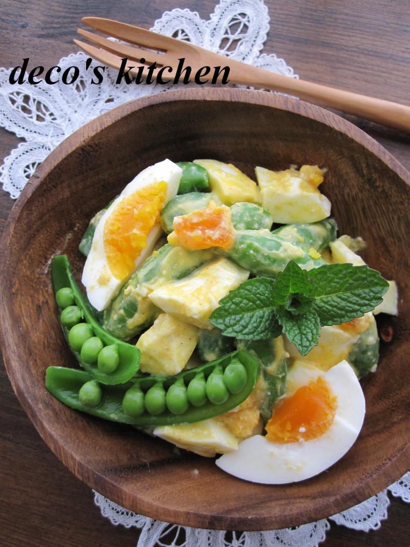 decoの小さな台所。-スナップえんどうとゆで卵のサラダ3