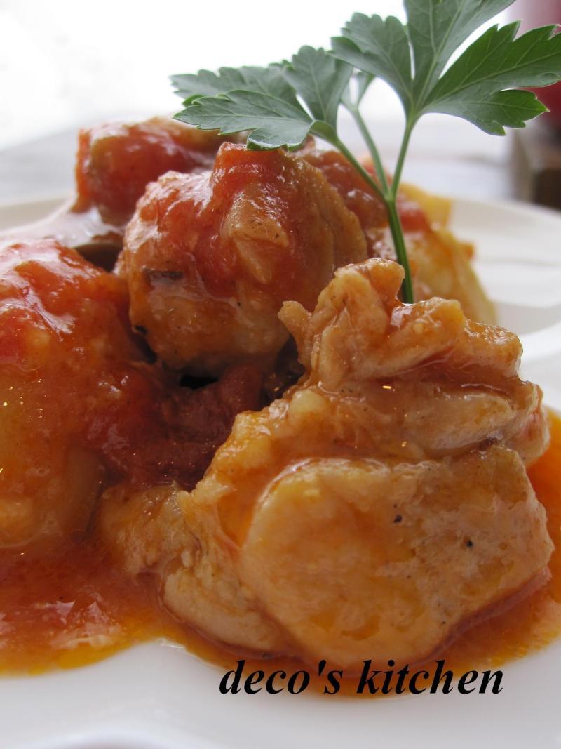 decoの小さな台所。-鶏肉と里いもの生姜トマト味噌煮込み5