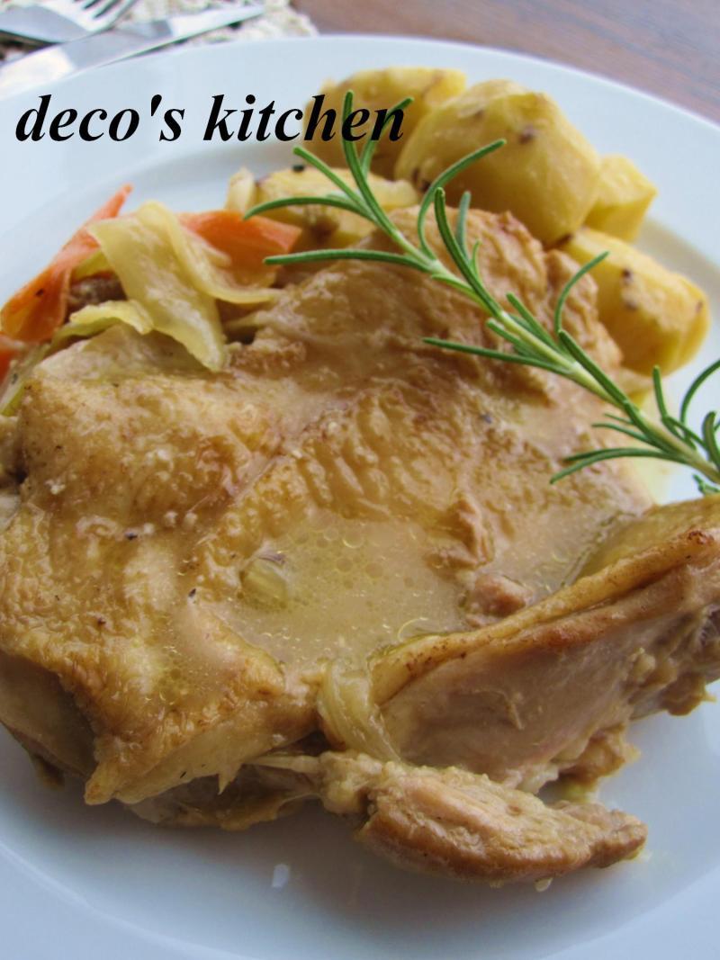 decoの小さな台所。-栗と鶏もも肉の白ワイン煮込み4